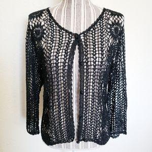 Vintage Ronni Nicole Crocheted Cardigan Top Shrug